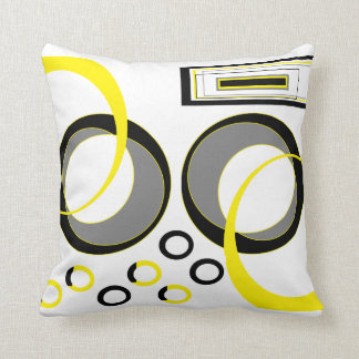 Yellow Grey and Black Throw Pillow