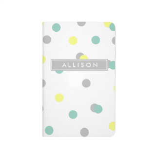Yellow Grey and Teal Polka Dot Monogram Journal