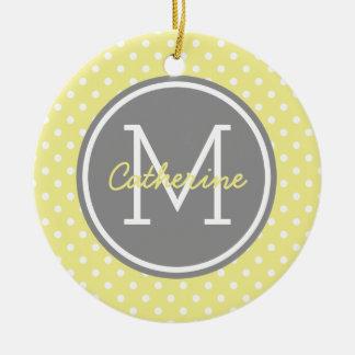 Yellow Grey and White Polka Dot Monogram Round Ceramic Ornament