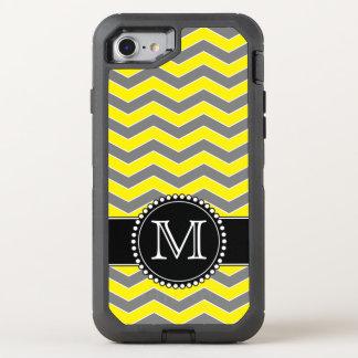 Yellow Grey & Black Chevron, Monogrammed Defender OtterBox Defender iPhone 7 Case