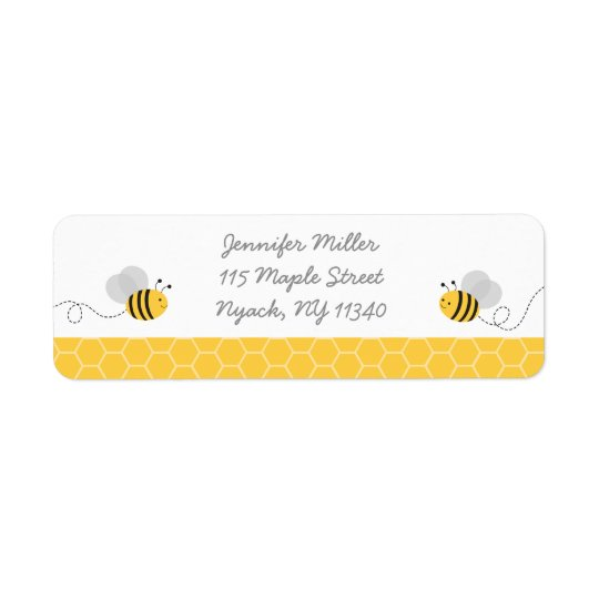 Yellow & Grey Bumble Bee Baby Shower Address