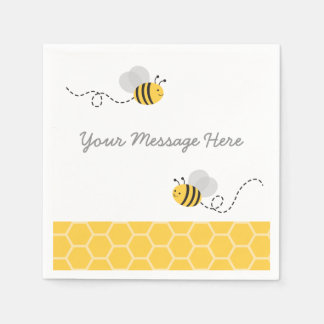 Yellow & Grey Bumble Bee Baby Shower Disposable Napkin