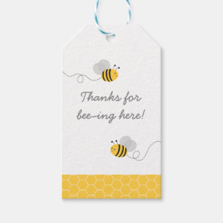 Yellow & Grey Bumble Bee Party Favor Pack Of Gift Tags