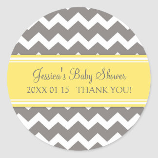 Yellow Grey Chevron Baby Shower Favour Stickers