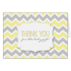 Yellow Grey Chevron Baby Shower thank you notes