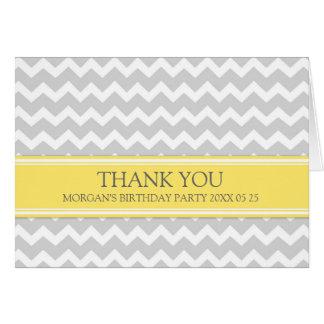 Yellow Grey Chevron Birthday Party Thank You Card