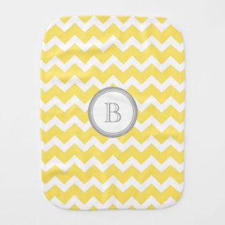 Yellow Grey Chevron Monogram Burp Cloth