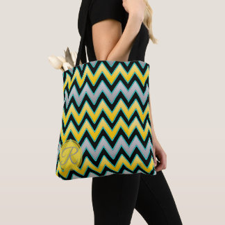 Yellow Grey Chevron pattern monogram personalized Tote Bag