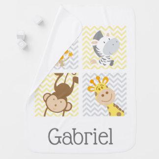Yellow Grey Chevron Safari & Jungle Animals Baby Blanket