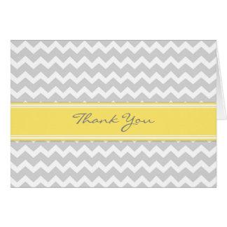 Yellow Grey Chevron Wedding Thank You Card