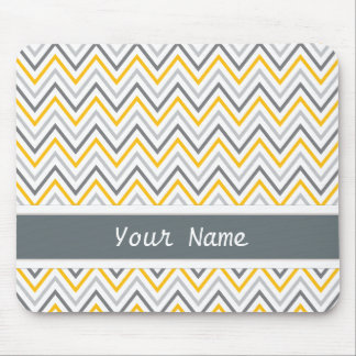 Yellow Grey Chevron Zigzag Monogram Mouse Pad