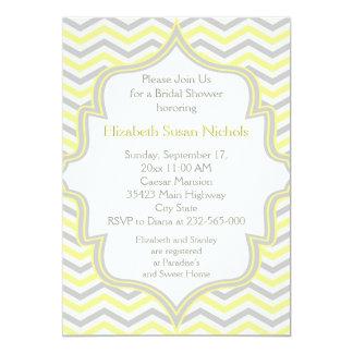 Yellow grey chevron zigzag wedding bridal shower card