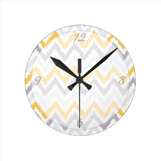 Yellow Grey Chevrons Ikat Pattern Round Clock