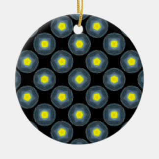 yellow grey circles on black Double-Sided ceramic round christmas ornament