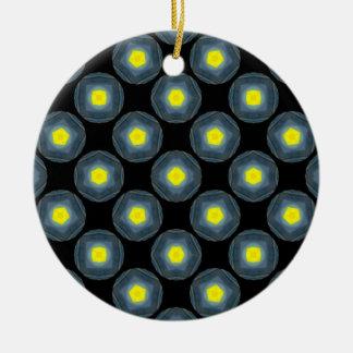 yellow grey circles on black round ceramic ornament