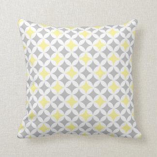 Yellow Grey Circles Pattern Decorative Pillow