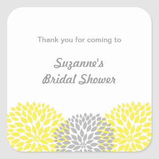 Yellow Grey Dahlia Bridal or Baby Shower favour Square Sticker