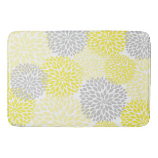 Yellow Grey Dahlias / flowers floral bathroom Bath Mat