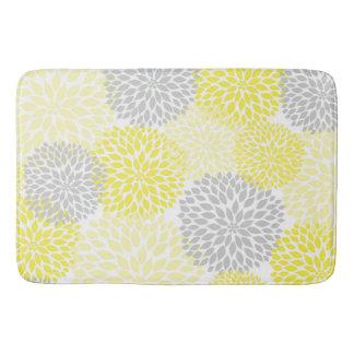 Yellow Grey Dahlias / flowers floral bathroom Bathroom Mat