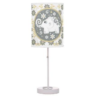 Yellow Grey Daisy Floral White Elephant Desk Lamp