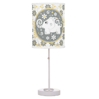 Yellow Grey Daisy Floral White Elephant Table Lamp