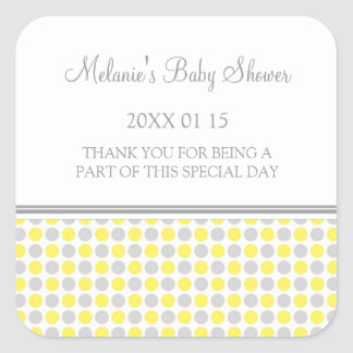 Yellow Grey Dots Baby Shower Favour Stickers