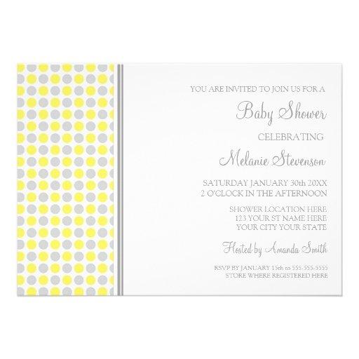 Yellow Grey Dots Custom Baby Shower Invitations
