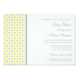"Yellow Grey Dots Custom Baby Shower Invitations 5"" X 7"" Invitation Card"