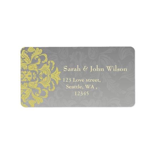 """yellow grey"" elegance return address label"