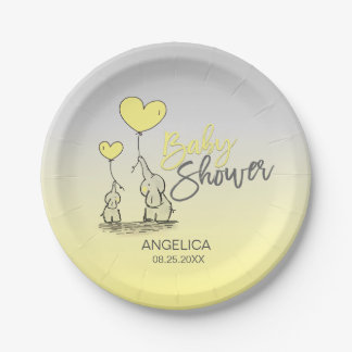 Yellow Grey Elephant Gender Neutral Baby Shower Paper Plate