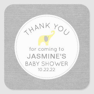 Yellow Grey Elephant neutral baby shower favor Square Sticker