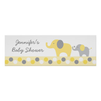 Yellow & Grey Elephant Personalized Banner Sign Poster