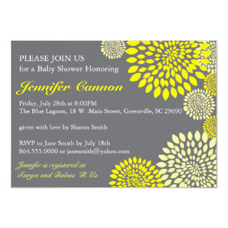 Yellow Grey Floral Modern Baby Shower Invitations