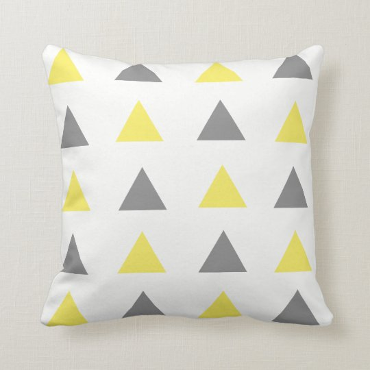Yellow & Grey Geometric Triangle Throw Pillow