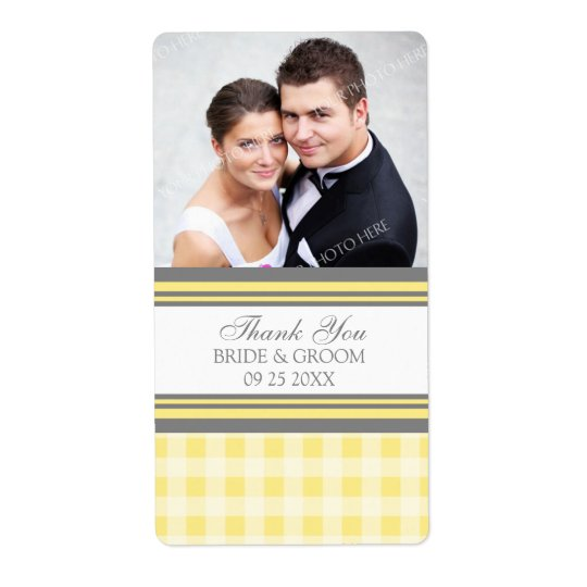 Yellow Grey Gingham Photo Wedding Labels