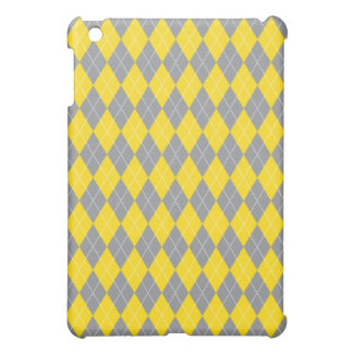 Yellow Grey Gray Argyle Plaid Pattern Cover For The iPad Mini