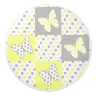 Yellow Grey Gray Butterfly Polka Dot Quilt Girl Ceramic Knob
