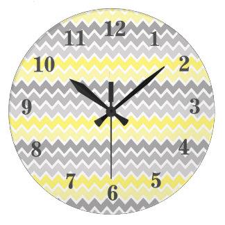 Yellow Grey Gray Ombre Chevron Large Clock