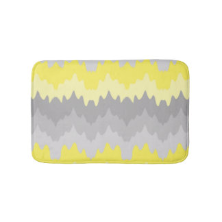 Yellow Grey Gray Ombre Chevron Zigzag Bath Mat