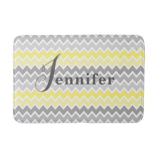Yellow Grey Gray Ombre Chevron Zigzag Pattern Bath Mat