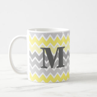 Yellow Grey Gray Ombre Chevron Zigzag Pattern Coffee Mug