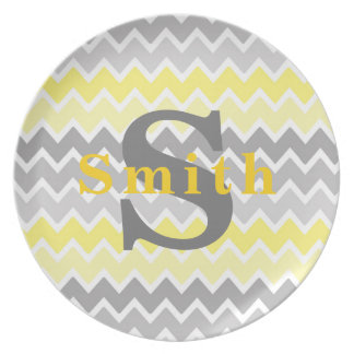 Yellow Grey Gray Ombre Chevron Zigzag Pattern Plate