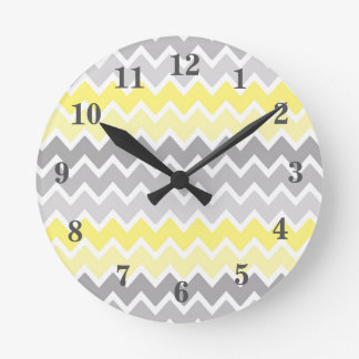 Yellow Grey Gray Ombre Chevron Zigzag Pattern Round Clock