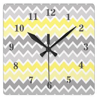Yellow Grey Grey Ombre Chevron Zigzag Pattern Square Wall Clock