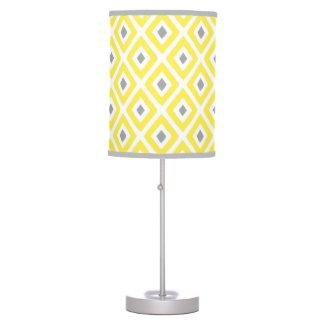 Yellow Grey Ikat Diamond Pattern Table Lamp