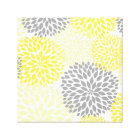 Yellow Grey modern dahlia blossoms wall art