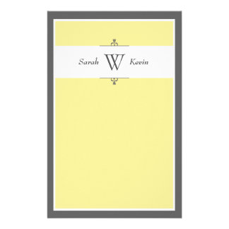 Yellow & Grey Monogram stationery