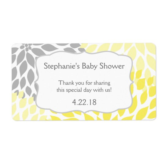 Yellow Grey Mums Water Bottle Favour Shipping Label