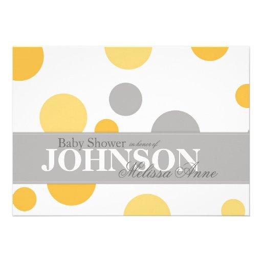 Yellow Grey Polka Dots Baby Shower Invitation Card