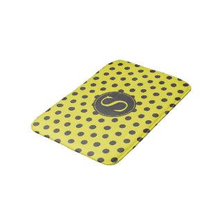 Yellow & Grey Polka Dots with Custom Monogram Bath Mat